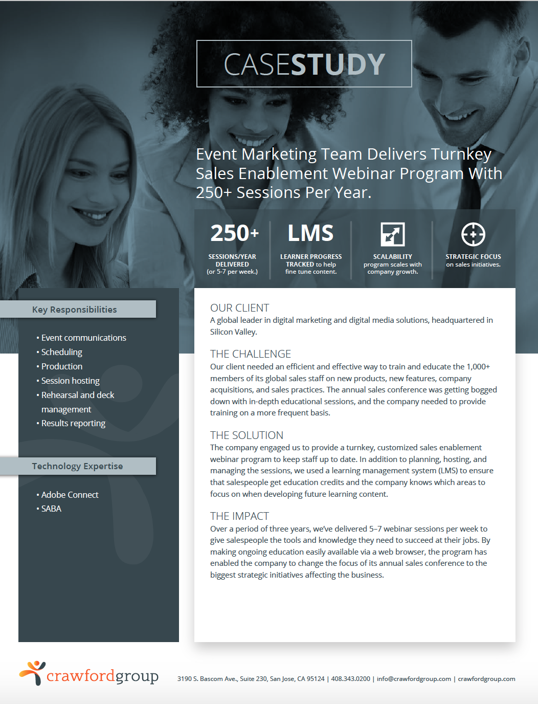 Webinar Case Study - Event marketing team delivers turnkey sales enablement webinar program with 250+ sessions per year.