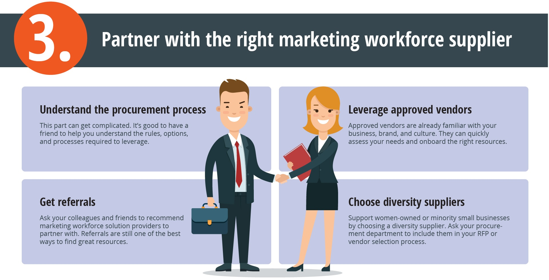 Partner with the right marketing workforce supplier; leverage approved vendors and choose diversity suppliers